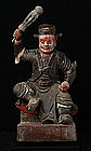 19th Century, Qing Dynasty, Chinese Painted Wooden God