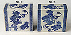 Chinese Blue and White Porcelain Pillows W/ Foo Dogs