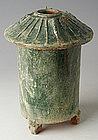 Han Dynasty, Chinese Pottery Granary with Green Glaze
