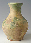 Han Dynasty, Chinese Pottery Hu Jar with Green Glaze