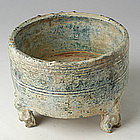 Han Dynasty, Chinese Pottery Jar with Silvery Surface
