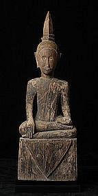 19th Century, Large Laos Wooden Sitting Buddha