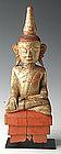 18th Century, Rare Tai Yai Burmese Wooden Buddha