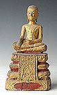 19th Century, Rare Thai Wooden Sitting Disciple