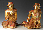 19th C, A Pair of LARGE & RARE Burmese Wooden Disciples