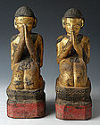 18th C.,Shan,A Pair of Tai Yai Burmese Wooden Disciples