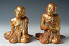19th C., Mandalay, A Pair of Burmese Wooden Disciples