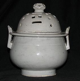 A Korean white glazed porcelain censer and cover.