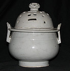 A Korean white glazed porcelain censer and cover.