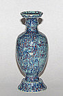 An unusual Chinese robin�s egg baluster vase. Qianlong.