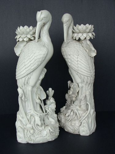 Blanc de Chine Antique Heron Candlesticks