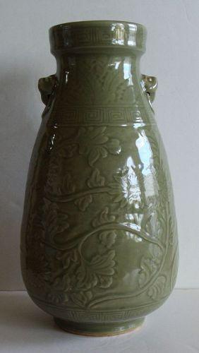 Stoneware Carved Celadon Vase