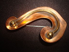 ART MODERNE ABSTRACT COPPER BROOCH