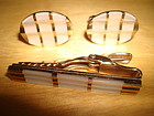 VINTAGE AUSTRIAN MOTHER OF PEARL CUFFLINKS & TIE CLIP