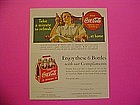 1940s COCA COLA AD & COUPON W/ LADY