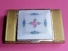 LA MODE ENAMEL & BRASS VINTAGE LADIES COMPACT