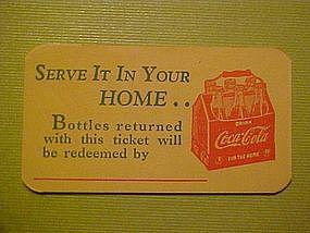 COCA-COLA BOTTLE REDEMPTION CARD 1940's