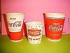 VINTAGE COCA-COLA WAX PAPER CUPS 1950's-60's 3 TYPES