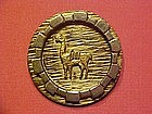 PERUVIAN INDIAN STERLING SILVER PIN W/ 18K GOLD LLAMA