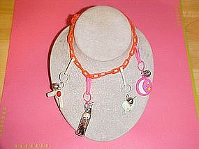 1960's MOD ERA GROOVY PLASTIC NECKLACE W/ CHARMS