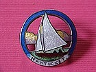 VINTAGE CLOISONNE ON STERLING NANTUCKET SAIL BOAT PIN