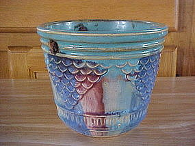 HULL POTTERY 1920's HANGING PLANTER  MULTI COLORED