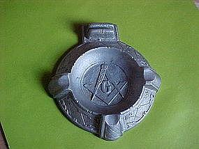 MASON MASONIC CAST ALUMINUM ASHTRAY 1920'S-30'S