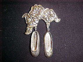 REED & BARTON STERLING FLOWER & BALLERINA SHOE PIN