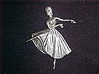 LANG STERLING BALLERINA PIN CIRCA 1940's