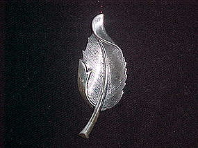 STERLING LEAF PIN BY JEWELART 1960's