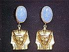 EGYPTIAN MOTIF SCARAB & SPHINX EARRINGS