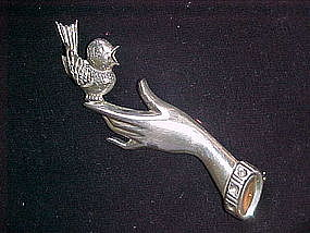 STERLING HAND WITH BIRD PIN BY LANG 1940's