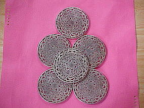 WEBSTER STERLING SILVER/CRYSTAL COASTERS 6