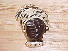 BLACKAMOOR COMPOSITION HAND PAINTED PIN 1930's-40's