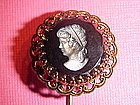 1950's GERMAN BLACK GLASS CAMEO STICK PIN