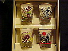 FEDERAL GLASS CO. RUMPUS BLACK NATIVE SHOT GLASS SET