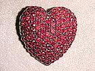 VINTAGE HOLLYCRAFT RUBY RED RHINESTONE HEART PIN