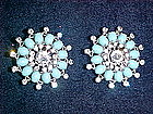 KRAMER CLIP ON RHINESTONE EARRINGS 1950'S