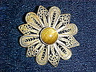 STERLING SILVER FILIGREE FLOWER BROOCH 1950'S