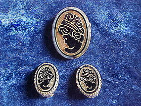 3 PIECE CAMEO SET BROOCH & EARRINGS 1950'S
