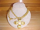 GIVENCHY FAUX PEARL FLOWER PENDANT W/ DOUBLE LINK CHAIN