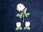 CARVED IVORY ROSE BROOCH & EARRINGS SET STERLING SILVER