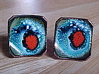VINTAGE ENAMEL ON COPPER CUFFLINKS  KAY DENNING
