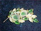 VINTAGE RHINESTONE & CARVED CRYSTAL FLOWER SPRAY BROOCH