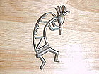 STYLIZED FLUTE PLAYING INDIAN STERLING SILVER BROOCH