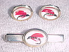 VINTAGE ANSON FLY FISHERMAN CUFFLINKS & TIE CLIP