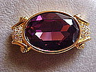 VINTAGE SWAROVSKI AMETHYST CRYSTAL PIN W/ DIAMONDS