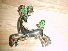 VINTAGE CHRISTMAS REINDEER PIN W/ HOLLY