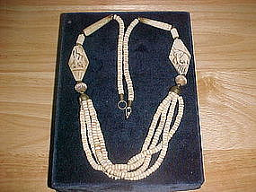 TRIBAL FOLKART BONE NECKLACE W/CARVED ELEPHANTS