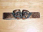 VINTAGE COPPER COMEDY & TRAGEDY TIE BAR